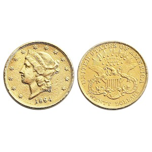 1864 Gold $20 Double Eagle