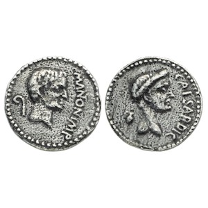 Denarius of Mark Antony and Julius Caesar